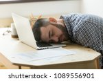 bored tired office worker... | Shutterstock . vector #1089556901
