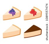 cheesecake slices set with... | Shutterstock . vector #1089557474