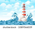 stormy sea with lighthouse on...   Shutterstock .eps vector #1089566039