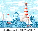 stormy sea with lighthouse on... | Shutterstock .eps vector #1089566057