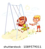 boy shakes the girl on a swing... | Shutterstock .eps vector #1089579011