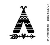 teepee and arrow tribal tattoo. ... | Shutterstock .eps vector #1089583724