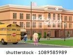 pupils on background of school... | Shutterstock .eps vector #1089585989