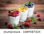 fresh fruit yogurt with fresh... | Shutterstock . vector #1089587324