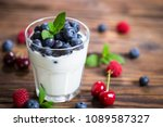 fresh fruit yogurt with fresh... | Shutterstock . vector #1089587327