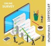 online survey flat isometric... | Shutterstock .eps vector #1089592169