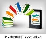 books flying in a e book.... | Shutterstock .eps vector #108960527