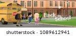 pupils on background of school... | Shutterstock .eps vector #1089612941