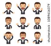 cartoon set of businessman... | Shutterstock .eps vector #1089616379
