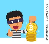 cryptocurrency concept thief... | Shutterstock .eps vector #1089617771
