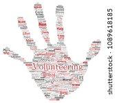 conceptual volunteering ... | Shutterstock . vector #1089618185