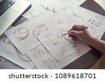 production designer sketching... | Shutterstock . vector #1089618701