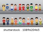 asian in traditional costume.... | Shutterstock .eps vector #1089620465