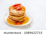 homemade pancakes with... | Shutterstock . vector #1089622715