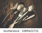 cutlery  forks  spoons  and... | Shutterstock . vector #1089622721