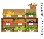 shelves with fresh vegetable... | Shutterstock .eps vector #1089626114