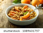 homemade apricot crumble with... | Shutterstock . vector #1089631757