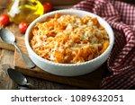 homemade pasta bake with... | Shutterstock . vector #1089632051