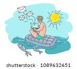 a man on a swimming mattress... | Shutterstock .eps vector #1089632651