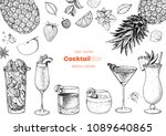alcoholic cocktails hand drawn...   Shutterstock .eps vector #1089640865