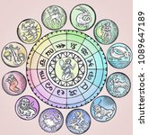 astrology horoscope circle with ... | Shutterstock . vector #1089647189