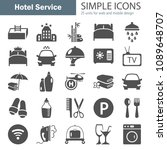 hotel service simple icons set... | Shutterstock .eps vector #1089648707