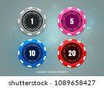 casino coins chip set on bokeh... | Shutterstock .eps vector #1089658427