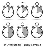 stopwatch icon with shadow set. ... | Shutterstock .eps vector #1089659885