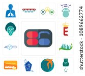 set of 13 simple editable icons ... | Shutterstock .eps vector #1089662774