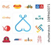 set of 13 simple editable icons ... | Shutterstock .eps vector #1089663371