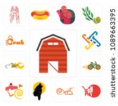 set of 13 simple editable icons ... | Shutterstock .eps vector #1089663395