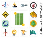 set of 13 simple editable icons ... | Shutterstock .eps vector #1089664601