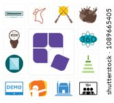 set of 13 simple editable icons ... | Shutterstock .eps vector #1089665405