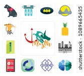 set of 13 simple editable icons ... | Shutterstock .eps vector #1089665435