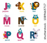 alphabet animals from j to r  ... | Shutterstock .eps vector #1089665717