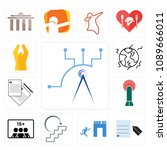 set of 13 simple editable icons ... | Shutterstock .eps vector #1089666011