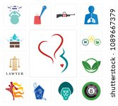 set of 13 simple editable icons ... | Shutterstock .eps vector #1089667379