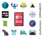 set of 13 simple editable icons ... | Shutterstock .eps vector #1089668435
