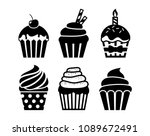 black isolated cupcakes icons... | Shutterstock .eps vector #1089672491