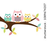 owl mom  boy and girl on a... | Shutterstock .eps vector #1089674207