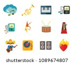 music icon set. trumpet player... | Shutterstock .eps vector #1089674807