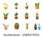 potted flowers icon set. money... | Shutterstock .eps vector #1089674951