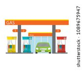 gasoline and oil station with... | Shutterstock .eps vector #1089675947