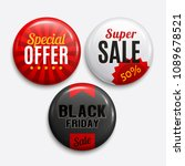 set of glossy sale badges.... | Shutterstock .eps vector #1089678521