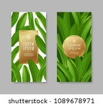 tropical leaves banners with... | Shutterstock .eps vector #1089678971