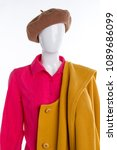 fashion blouse  beret and coat. ... | Shutterstock . vector #1089686099