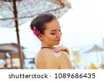 sun protection  girl using... | Shutterstock . vector #1089686435