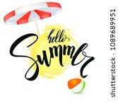 hello summer. handwritten text  ... | Shutterstock .eps vector #1089689951