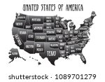 poster map of united states of... | Shutterstock .eps vector #1089701279