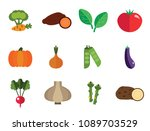 vegetables icons set with... | Shutterstock .eps vector #1089703529